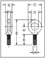 Shoulder Type Machinery Eye Bolts dimensions